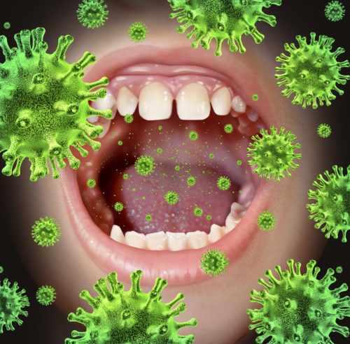 Открытый рот и бактерии